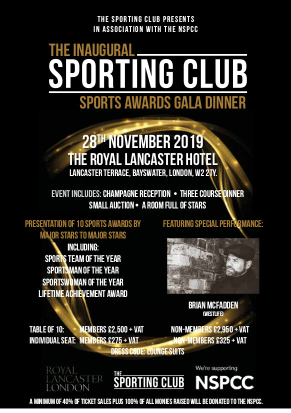Sporting Club Announces Inaugural Sporting Club Sports Awards Gala Dinner